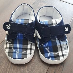 Brand New Blue Plaid Boat Shoes with Velcro